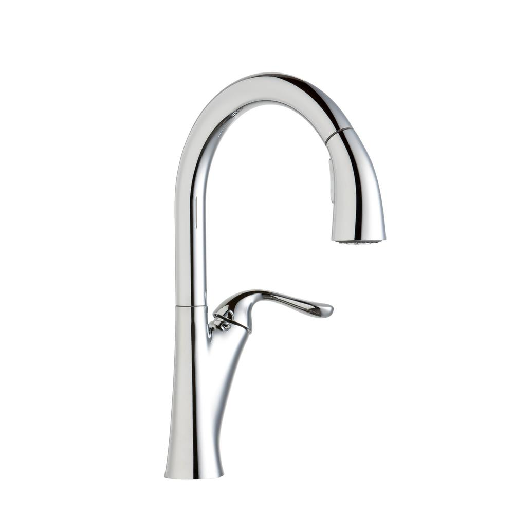 Elkay Harmony Single Handle Pull Down Sprayer Kitchen Faucet In