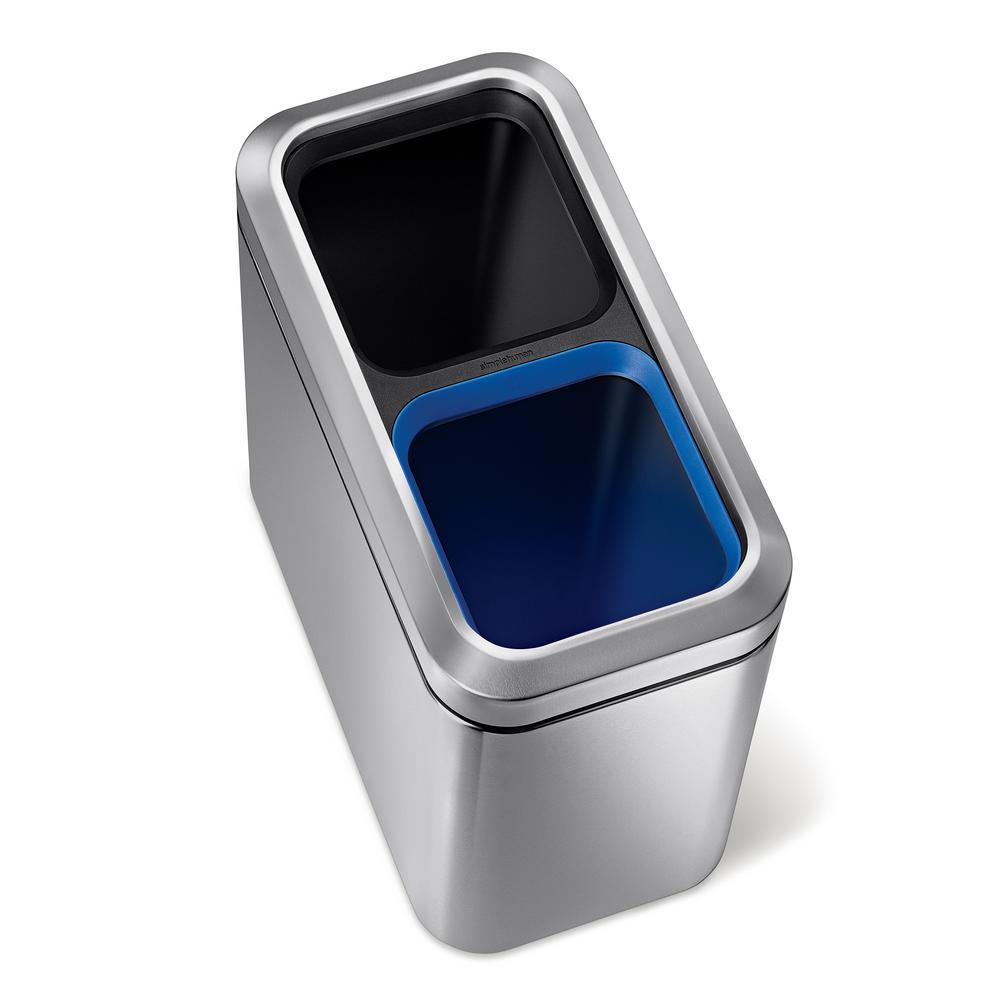 20-Liter Fingerprint-Proof Brushed Stainless Steel Slim Open Recycler
