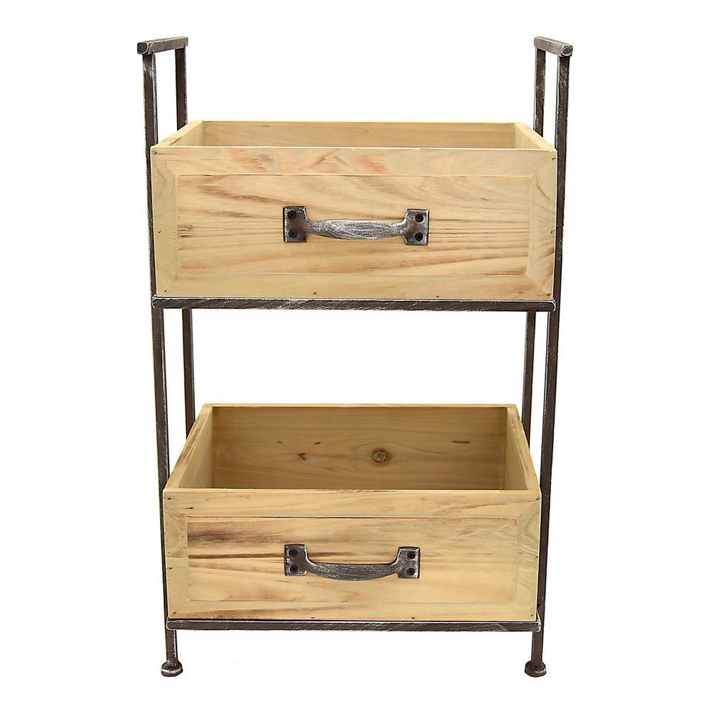 14 5 In X 10 Wood And Metal Storage Rack 2 Tier