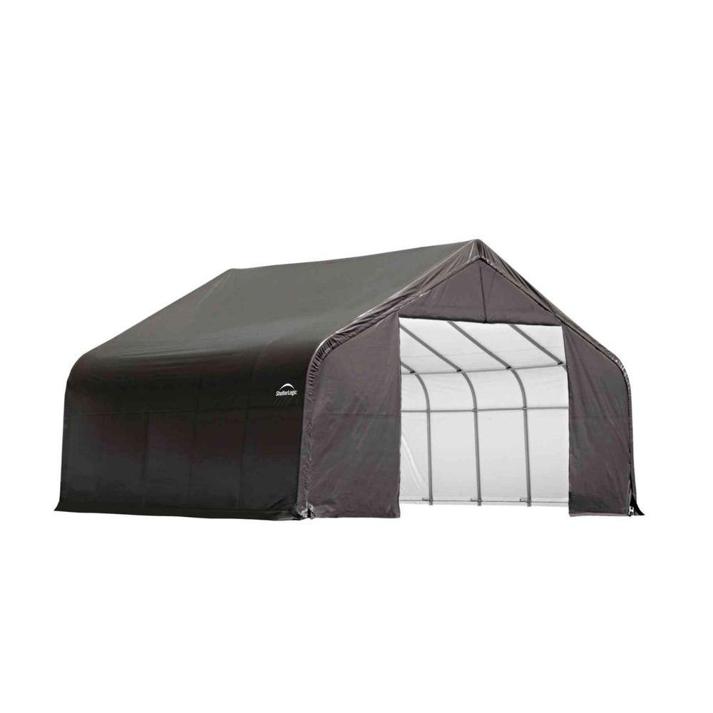 ShelterLogic 26 ft. x 20 ft. x 16 ft. Grey Cover Peak Style Shelter - DISCONTINUED