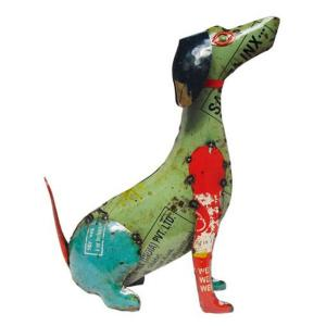 Upcycled Emporium 24 In Handcrafted Recycled Iron Dagwood Dog Garden Statue Cr1210 The Home Depot