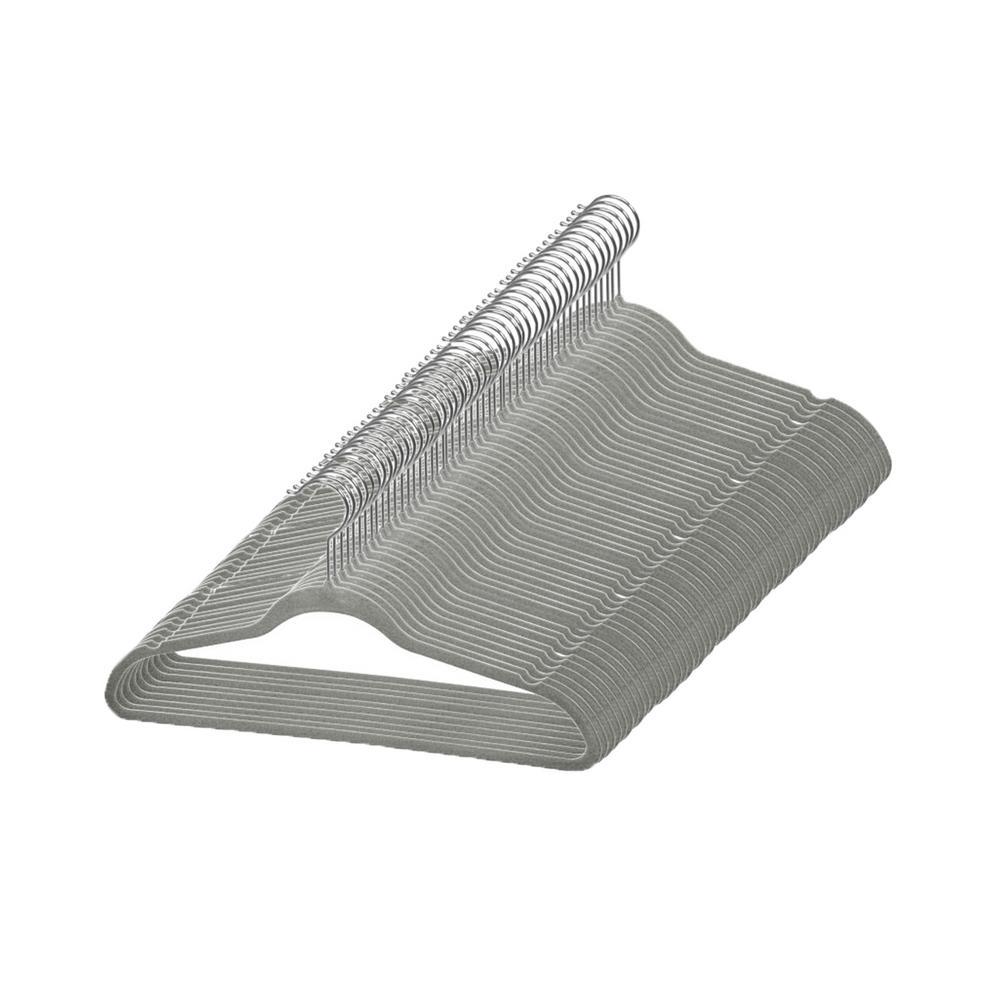 Grey Velvet Flocked Suit Hanger (25-Pack)