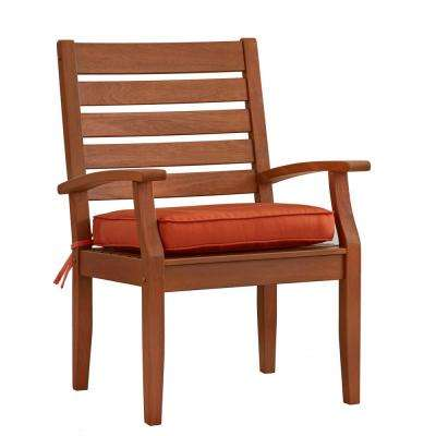 Verdon Gorge Brown Oiled Wood Outdoor Dining Arm Chair with Red Cushion (2-Pack)