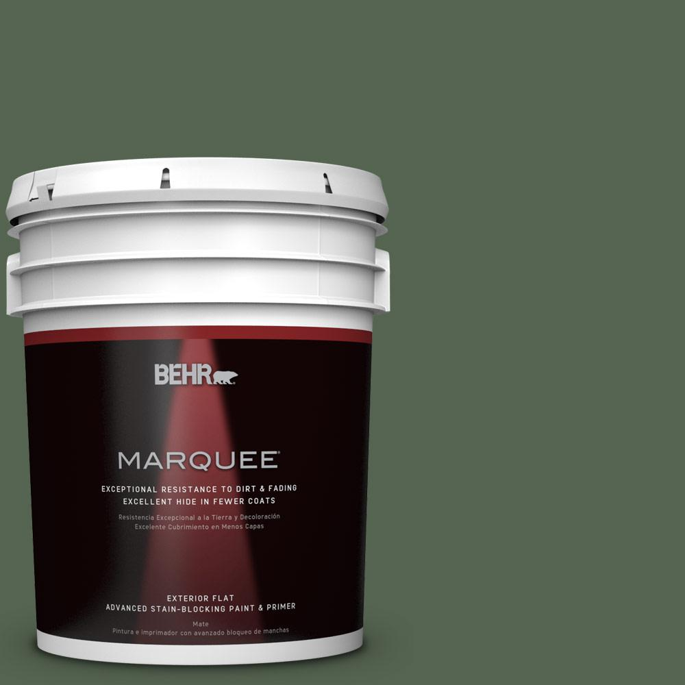 BEHR MARQUEE 5-gal. #S410-7 Equestrian Green Flat Exterior Paint