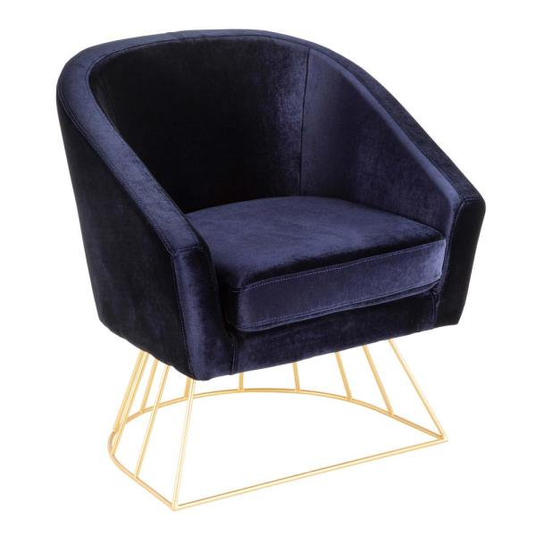 Lumisource Canary Gold and Blue Velvet Tub Chair CH-CNRY AU+BU