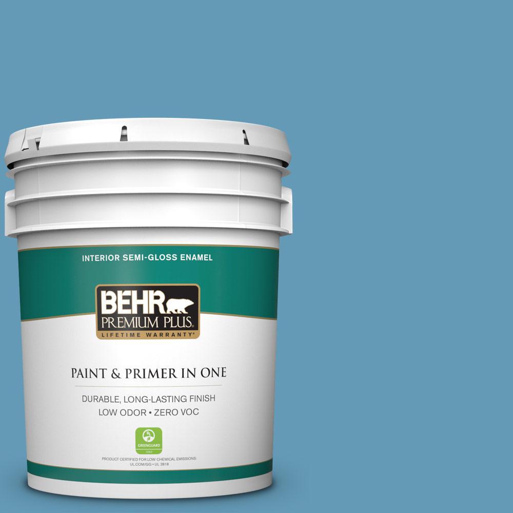 BEHR Premium Plus 5-gal. #S490-4 Yacht Blue Semi-Gloss Enamel Interior Paint