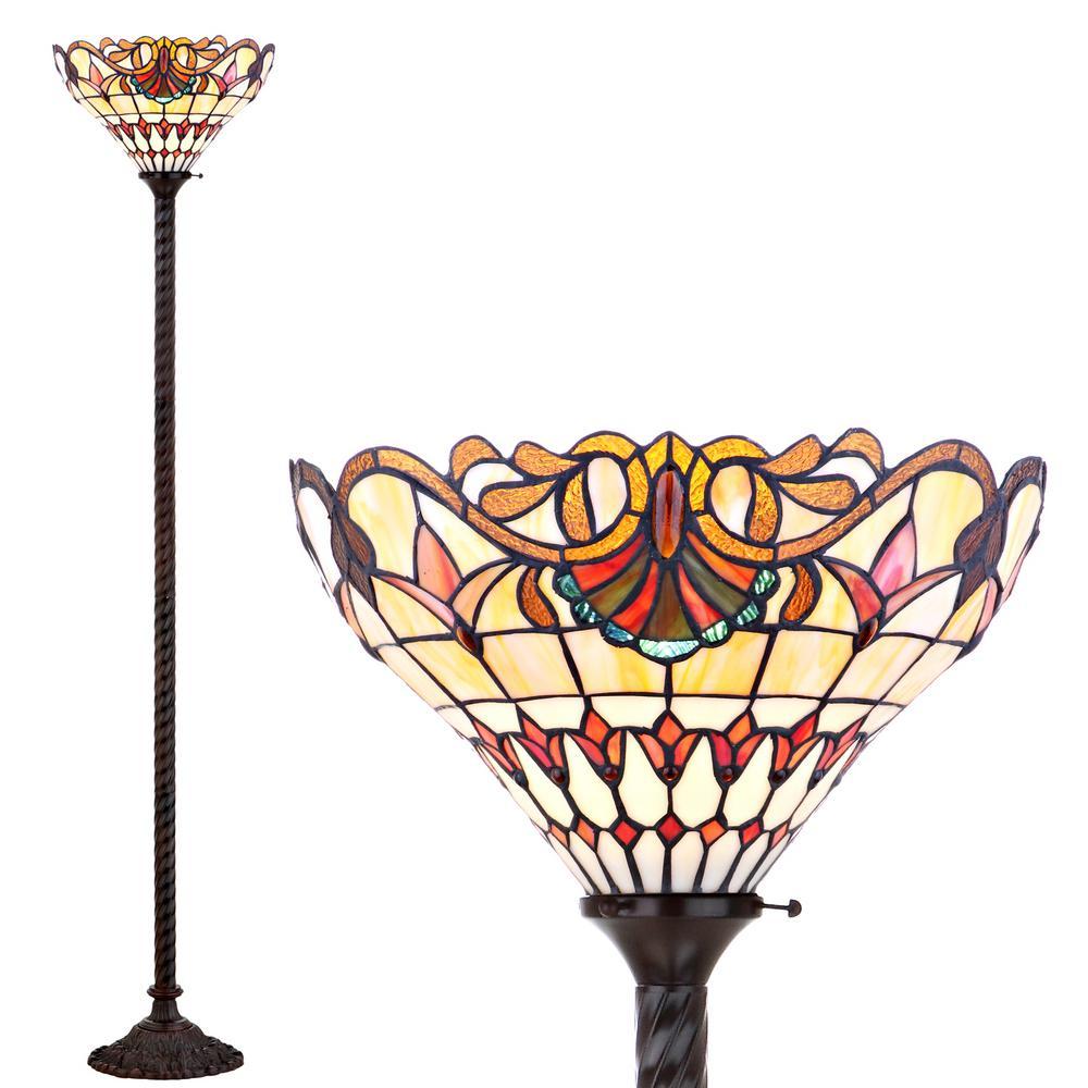 Davis Tiffany-Style 70 in. Bronze Torchiere Floor Lamp