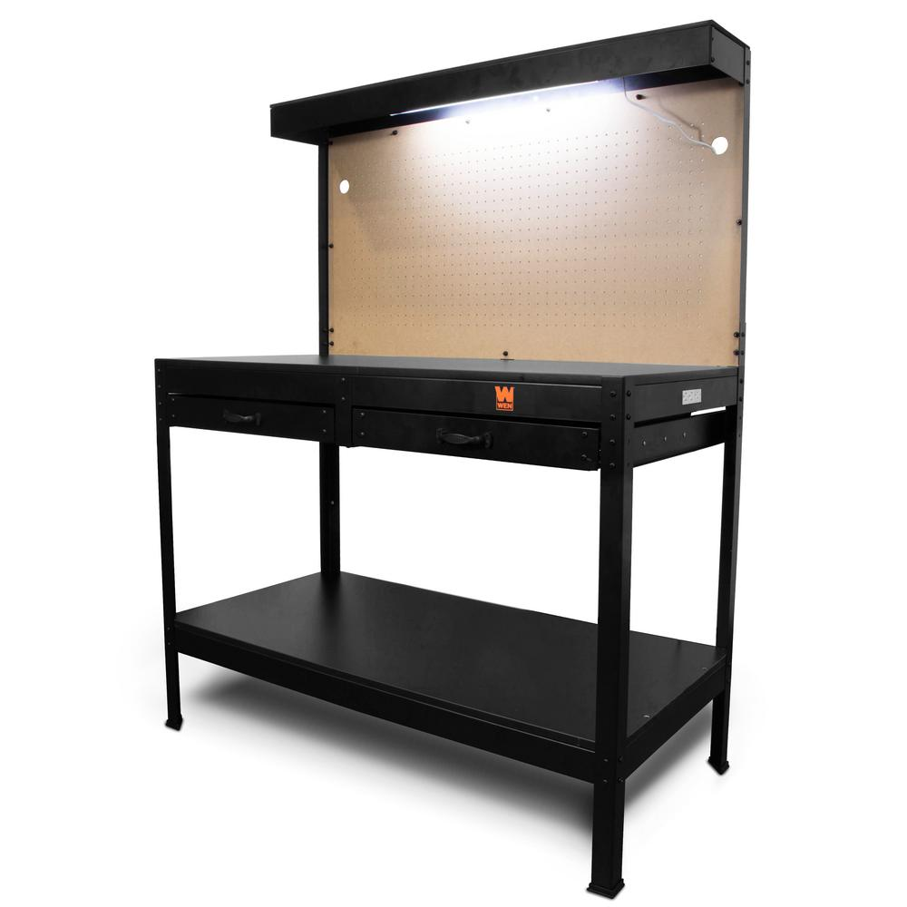 WEN 4 Ft. Workbench With Power Outlets And Light-WB4723