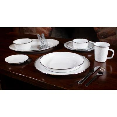 10 in. Solid White Enamelware Pasta Plate (Set of 4)