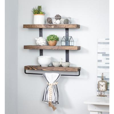Industrial Grace 5.5in x 24in x 20in Dark Walnut Pine Wood Three-TIer with Towel Bar Decorative Wall Shelf with Brackets