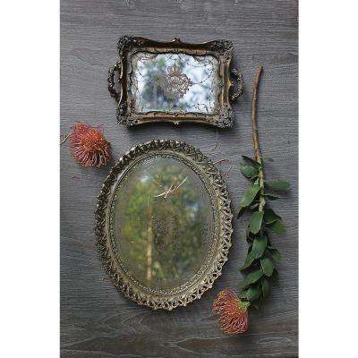 Antiqued Gold Decorative Mirrored Tray