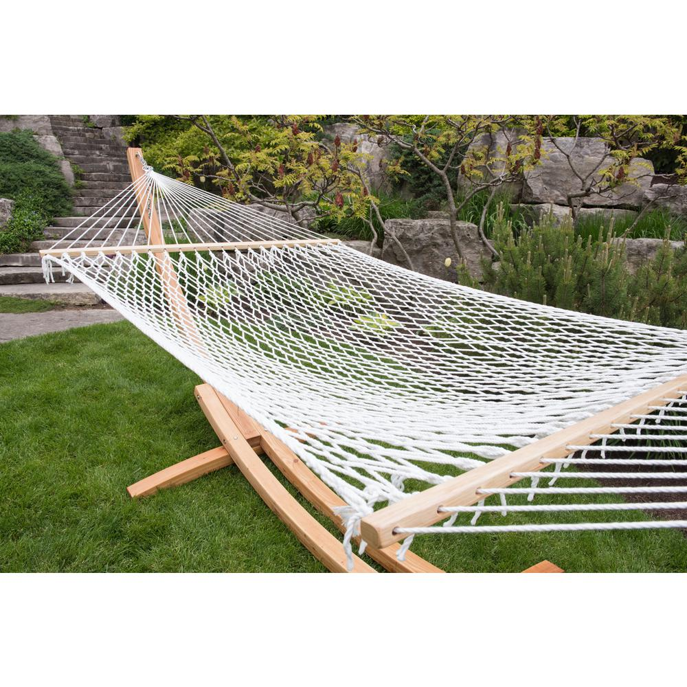 Polyester Rope Double Hammock In White