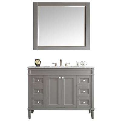 Catania 48 in. W x 22 in. D x 35 in. H Vanity In Grey with Marble Vanity Top in White with White Basin and Mirror