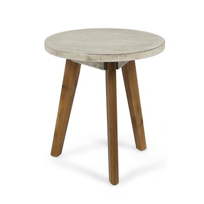 Marina Light Gray Round Wood Outdoor Side Table