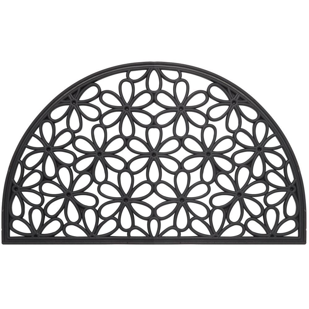 Wrought Iron Collection Black Half Round Daisy 18 in. x 30 in. Rubber Outdoor/Indoor Door Mat