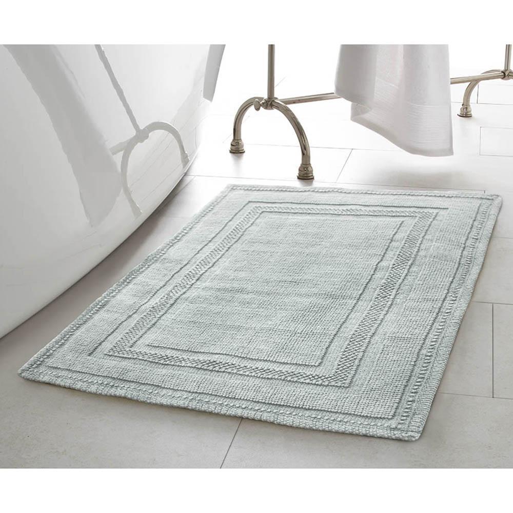 Jean Pierre Cotton Stonewash Racetrack In X In Bath Rug In - Aqua bathroom rugs