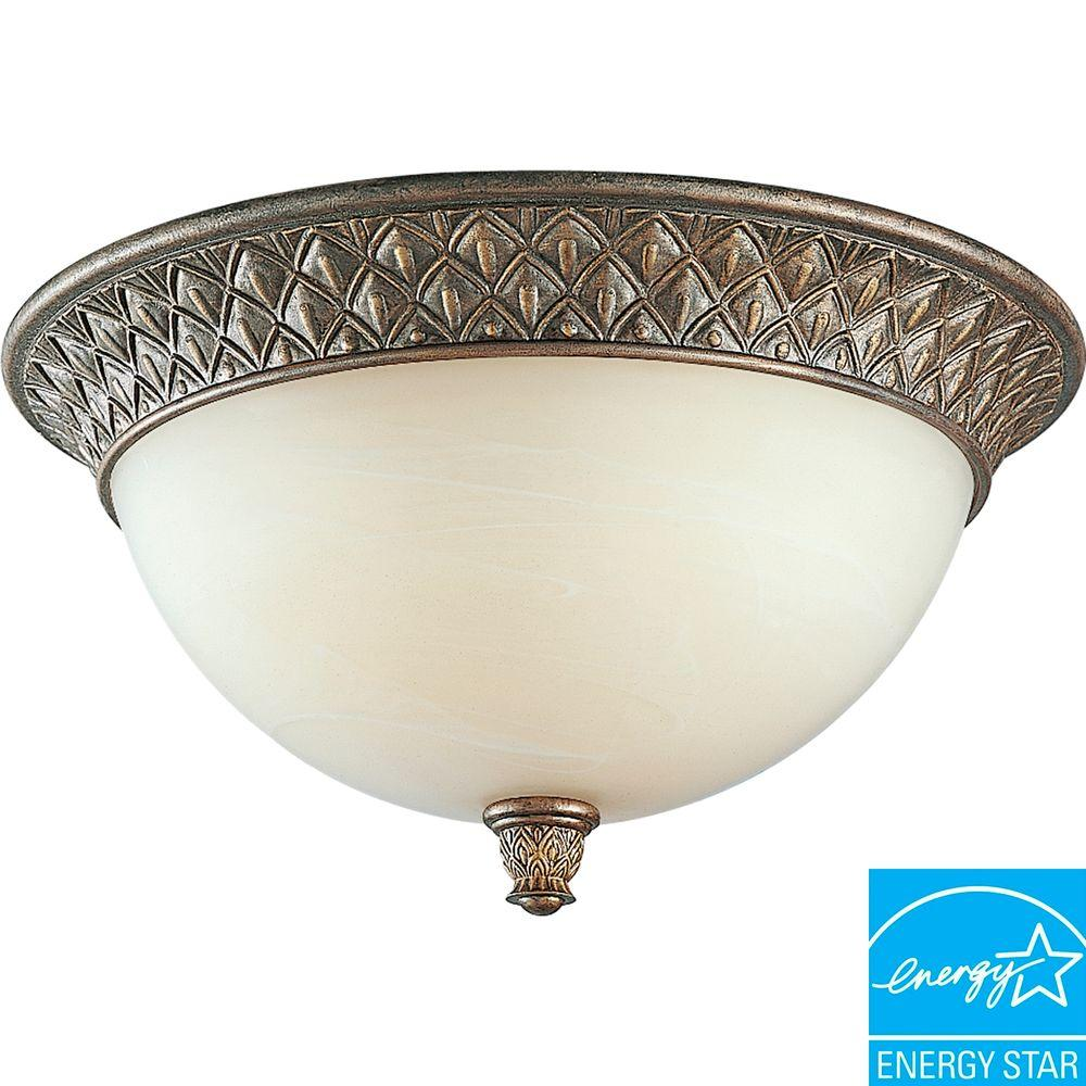 Progress Lighting Savannah Collection Burnished Chestnut 2-light Flushmount-DISCONTINUED