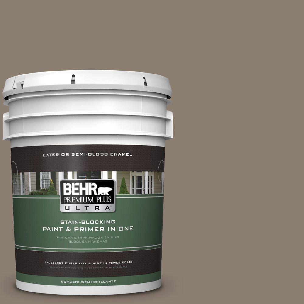 BEHR Premium Plus Ultra 5-gal. #BNC-36 Restful Brown Semi-Gloss Enamel Exterior Paint