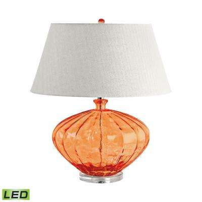 25 in. Orange Recycled Fluted Glass Urn LED Table Lamp