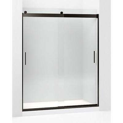 Levity 59.625 in. W x 74 in. H Frameless Sliding Shower Door in Anodized Dark Bronze