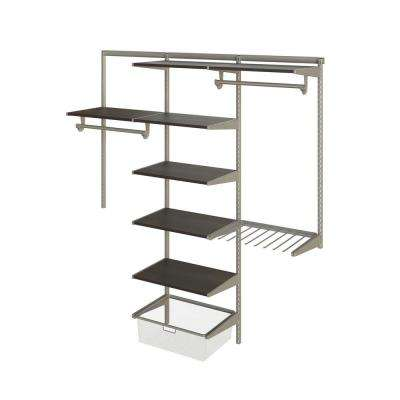 Closet Culture 16 in. D x 72 in. W x 78 in. H  with 7 Espresso Wood Shelves Steel Closet System