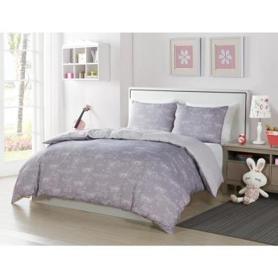 Malar Butterfly 2-Piece Grey-White Twin ComforterSet