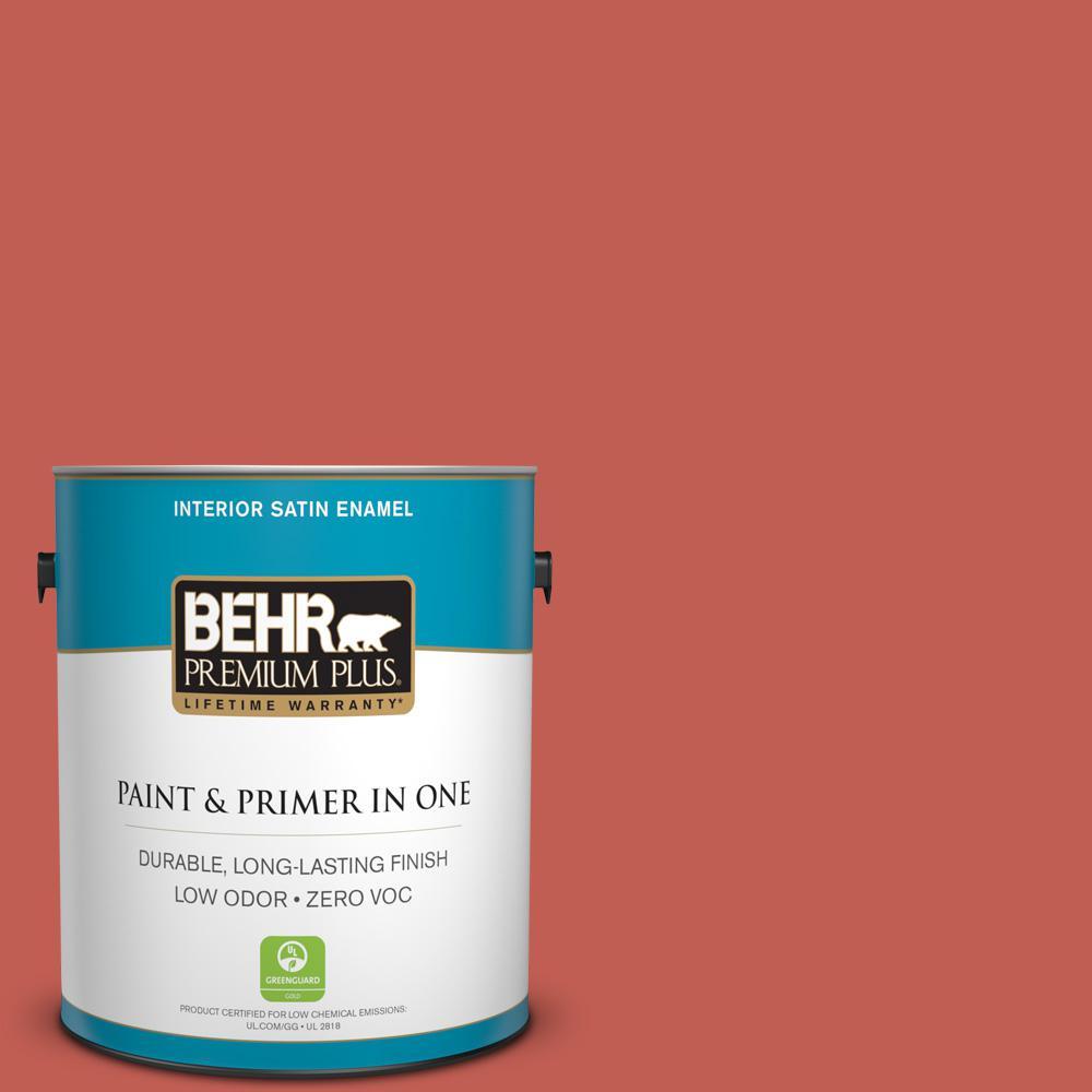 BEHR Premium Plus 1-gal. #190D-6 Red Jalapeno Zero VOC Satin Enamel Interior Paint
