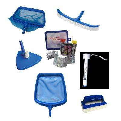 Deluxe Swimming Pool Kit - Vacuum Leaf Rake Brush Thermometer Test Kit Scrubbing Pad and Skimmer (7-Piece)