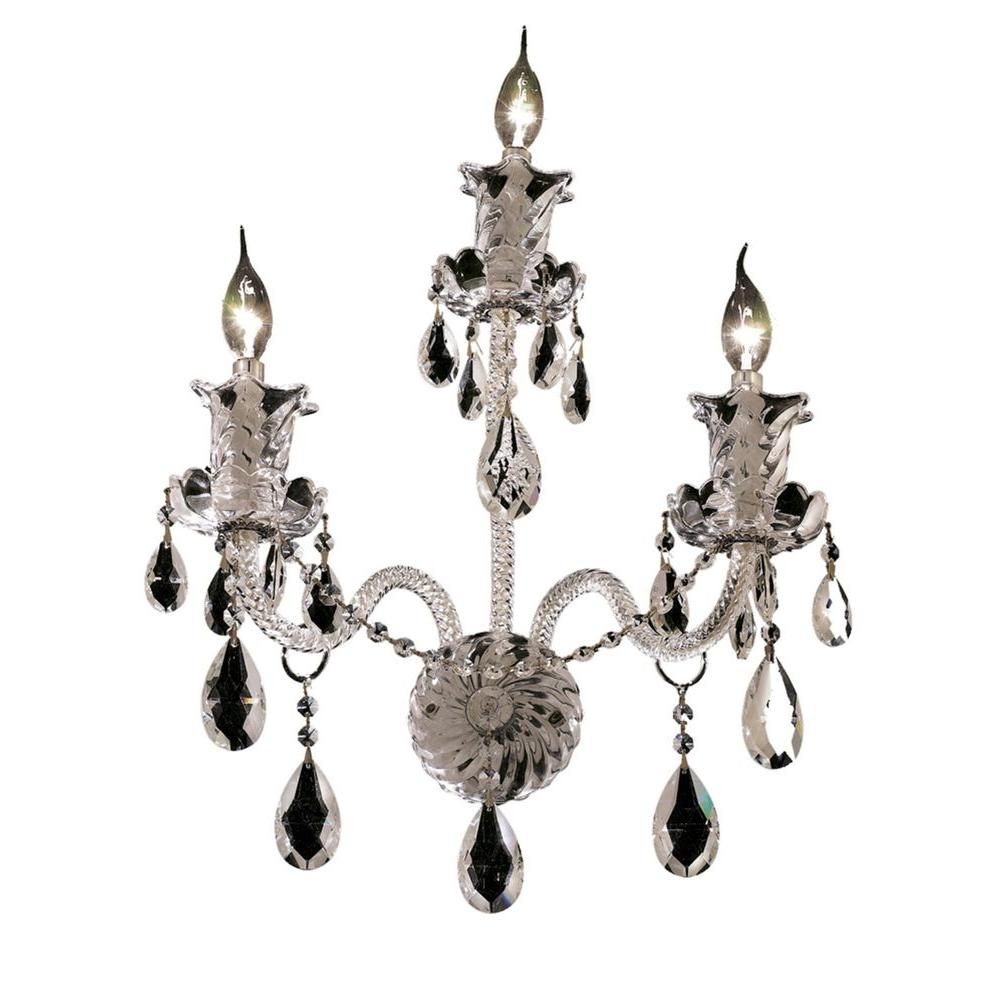 Elegant Lighting 3-Light Chrome Wall Sconce with Clear Crystal