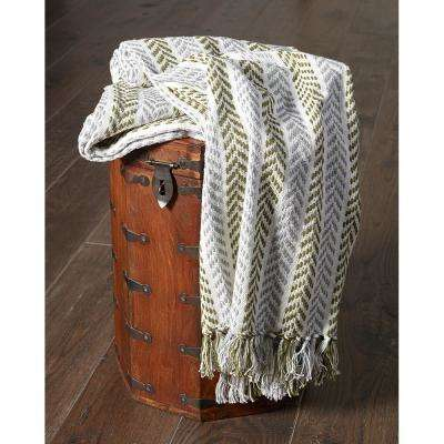 4 ft. 2 in. x 5 ft. Green/Gray Cotton Throw
