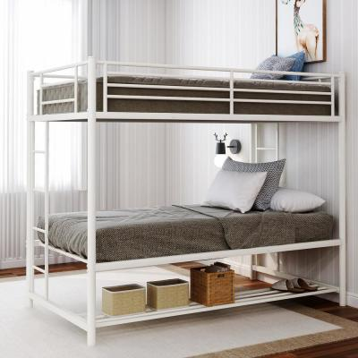 White Over Twin Bunk Bed with Storage Shelf
