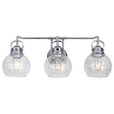 Shirley 24 in. 3-Light Metal/ Bubbled Glass Chrome Vanity Light