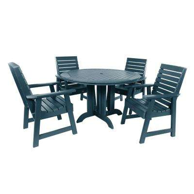 Weatherly Nantucket Blue 5-Piece Recycled Plastic Round Outdoor Dining Set
