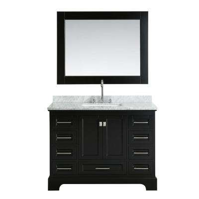 Omega 48 in. W x 22 in. D Vanity in Espresso with Marble Vanity Top in Carrara White with White Basin and Mirror