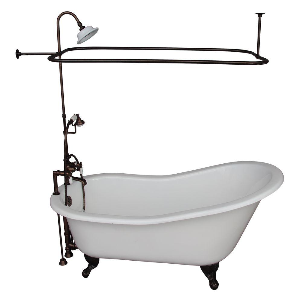 5.6 ft. Cast Iron Ball and Claw Feet Slipper Tub Kit