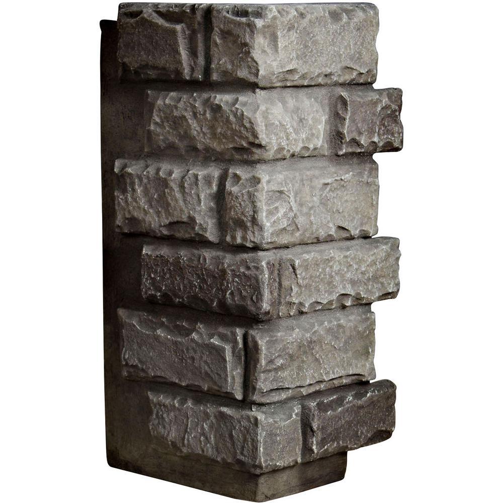 1-1/2 in. x 12-1/2 in. x 25 in. Slate Urethane Cut Coarse Random Rock Outer Corner Wall Panel