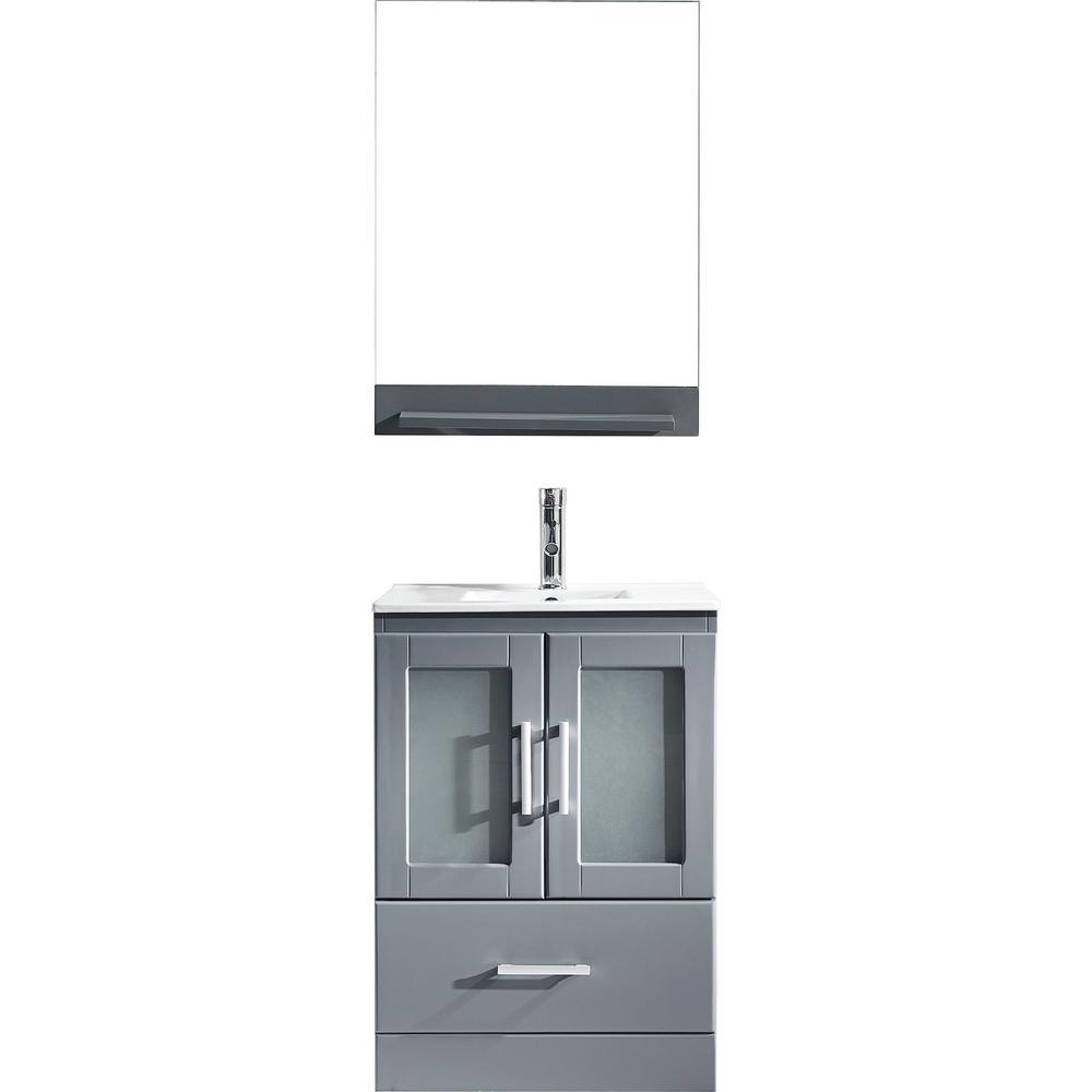 Virtu USA Zola 24 in. W Bath Vanity in Gray with Ceramic Vanity Top in Slim White Ceramic with Square Basin and Mirror and Faucet