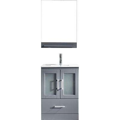 Zola 24 in. W Bath Vanity in Gray with Ceramic Vanity Top in Slim White Ceramic with Square Basin and Mirror and Faucet