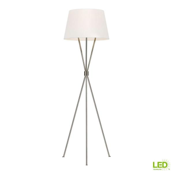 ED Ellen DeGeneres Crafted by Generation Lighting Penny 55.125 in. Polished Nickel Floor Lamp with White Linen Shade