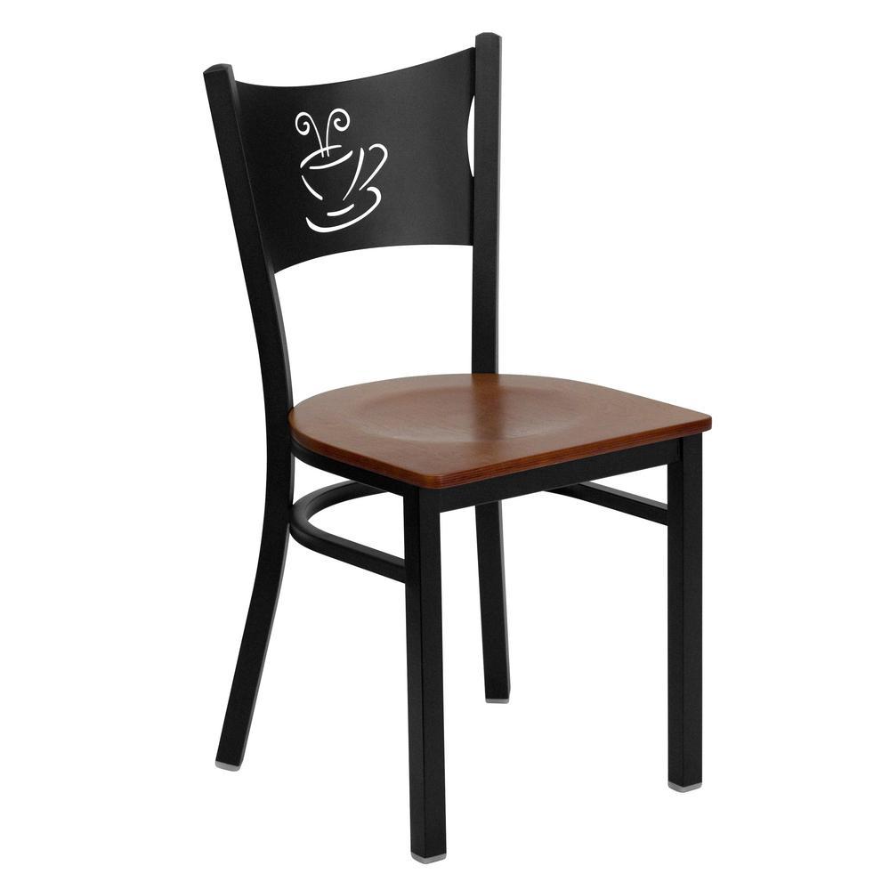 Hercules Series Black Coffee Back Metal Restaurant Chair with Cherry Wood Seat