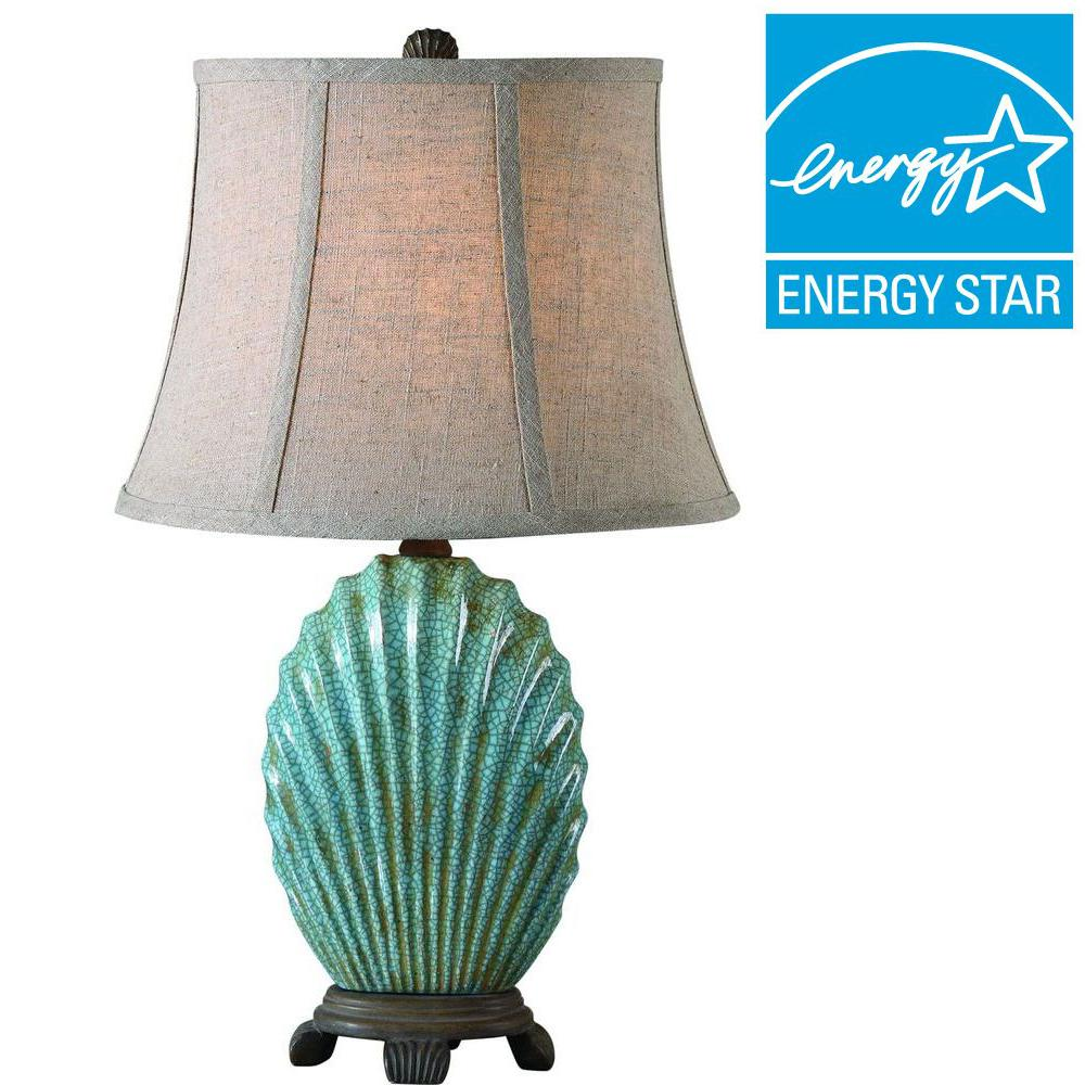 Global Direct 23 in. Crackled Blue Table Lamp