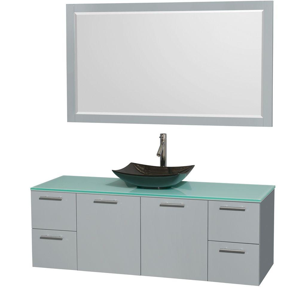 Wyndham Collection Amare 60 in. W x 22.25 in. D Vanity in Dove Gray with Glass Vanity Top in Green with Black Basin and 58 in. Mirror