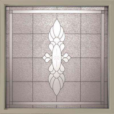 49.75 in. x 49.75 in. Decorative Glass Fixed Vinyl Glass Block Window in Tan