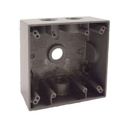 Gray 2-Gang Weatherproof Box with Four 1/2 in. Threaded Outlets