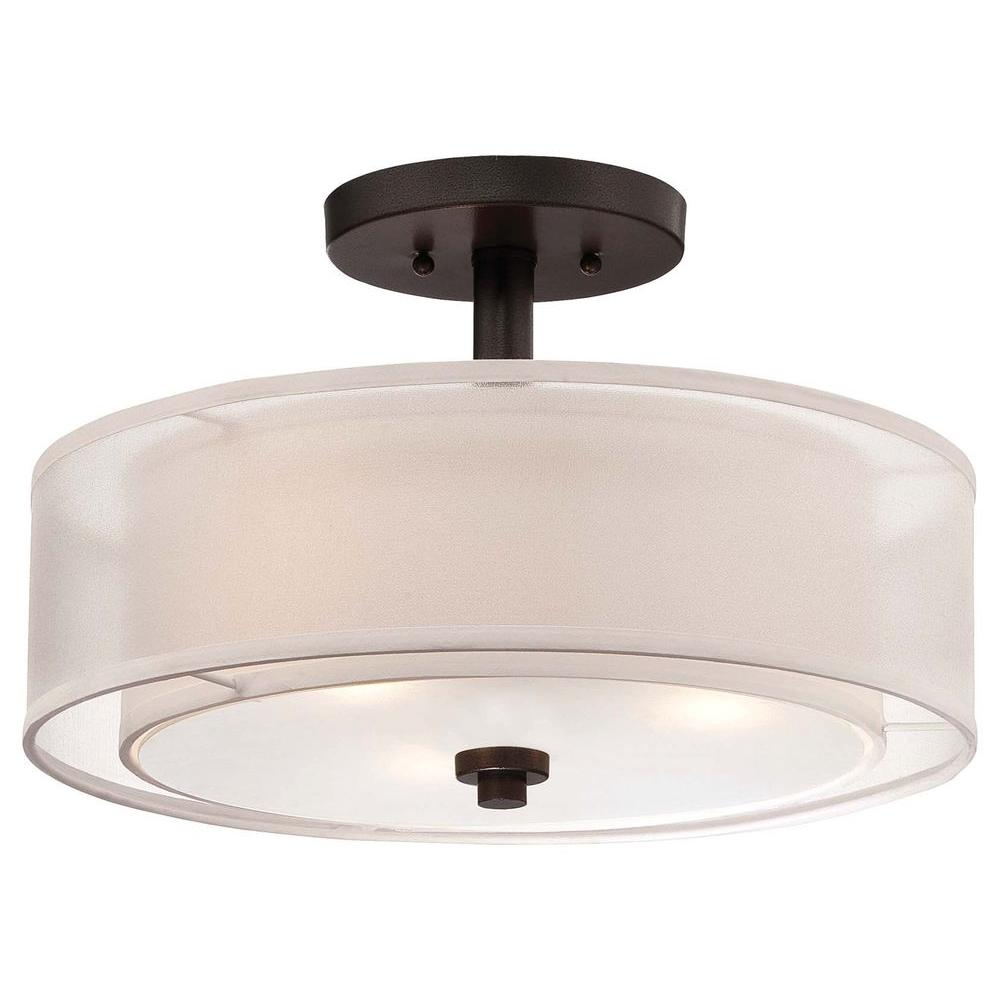 Minka Lavery Parsons Studio 3 Light Smoked Iron Semi Flush Mount Light