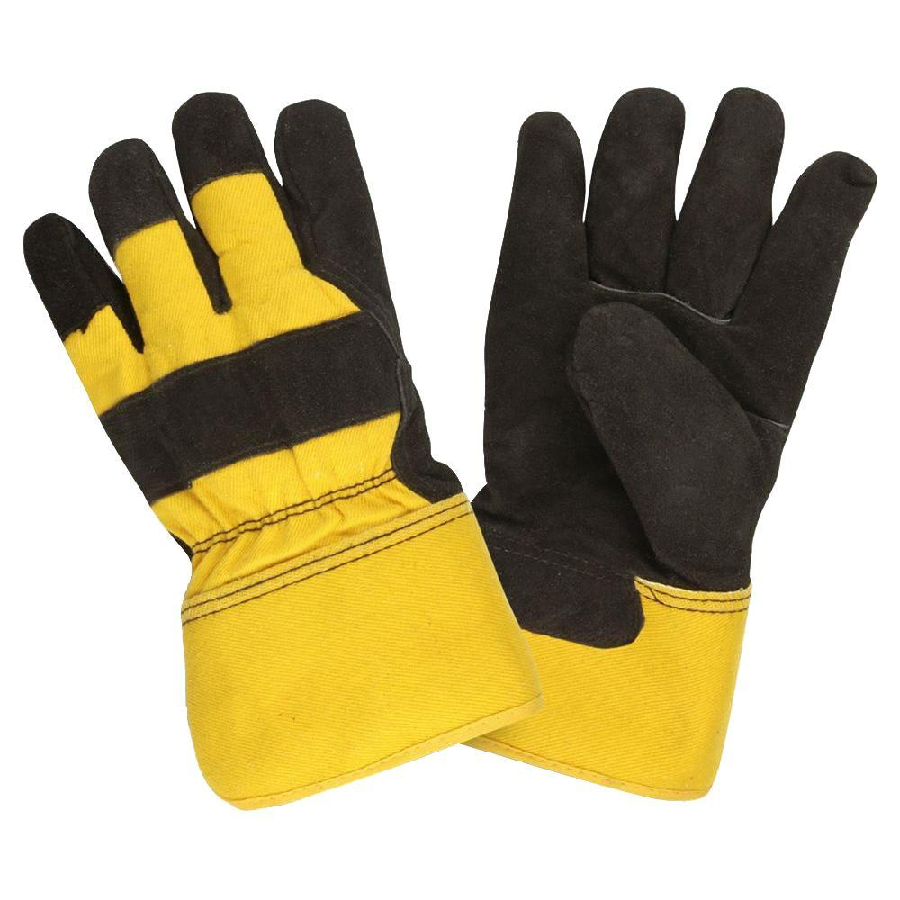 Thinsulate Lined Split Cow Leather Palm Large Work Glove Rubberized Safety