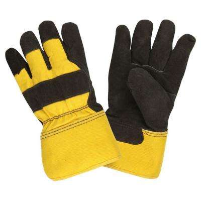 Thinsulate Lined Split Cow Leather Palm Large Work Glove Rubberized Safety Cuff