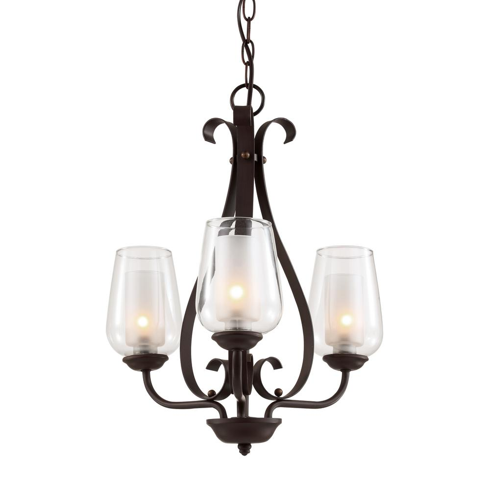 Transglobe 3-Light Rubbed Oil-Bronze Chandelier With