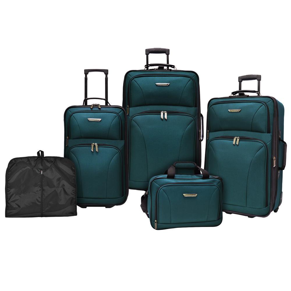 Traveler S Choice Travelers Versatile 5 Piece Teal Luggage Set