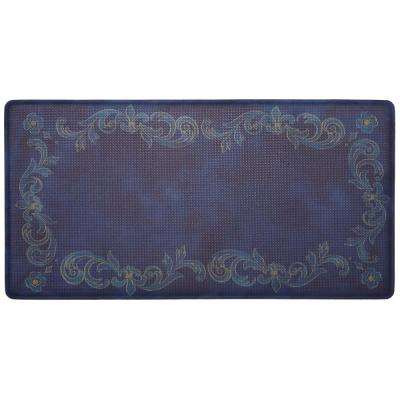 Cook N Comfort Navy Tuscan Fleur 20 in. x 30 in. Kitchen Mat